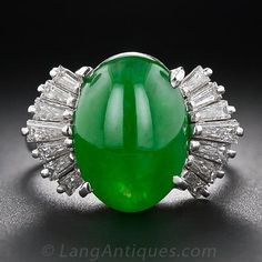 Burmese Jade and Diamond Ring - 30-1-1605 - Lang Antiques $18,750