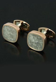 Meteorite Cufflinks in Rose Gold