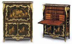 A LOUIS XV ORMOLU-MOUNTED CHINESE BLACK AND GILT- LACQUER SE