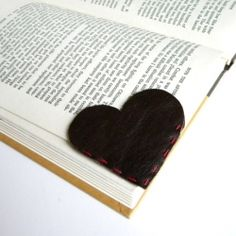 DIY leather heart bookmark-could stitch on initials for a gift too~great idea!!!