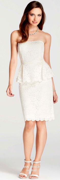 Ann Taylor Strapless Lace Peplum Dress