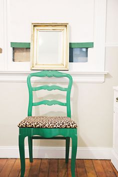 Meg Galligan's home tour // painted furniture // kelly green // chair // photography by Andi Hatch