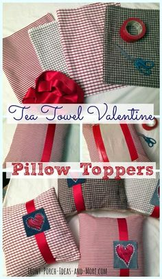 Valentine Porch Decor from tea towels. Super cute and no sewing.