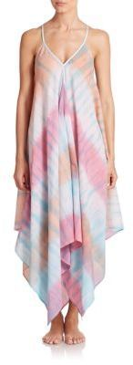 A pastel-hued tie-dye print and handkerchief hem lend bohemian style to this airy cotton coverup. Roberta Roller Rabbit Tie-Dye Scarf Dress