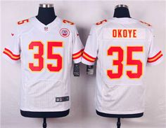 4982e999e Nike Kansas City Chiefs  35 Christian Okoye White Elite Jersey
