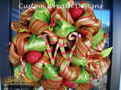 Whimscial Holiday Deluxe Mesh Wreath with by lilmaddydesigns, $135.00