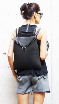NEW Genuine Leather Black  BagPack  / High Quality  asymmetrycal zipper Bag by AAKASHA A14413