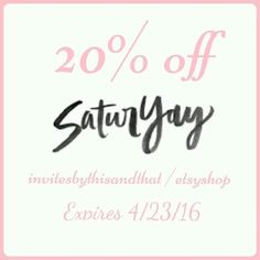 584405d5ca8 It s SaturYay!!!! We are having a ONE day sale