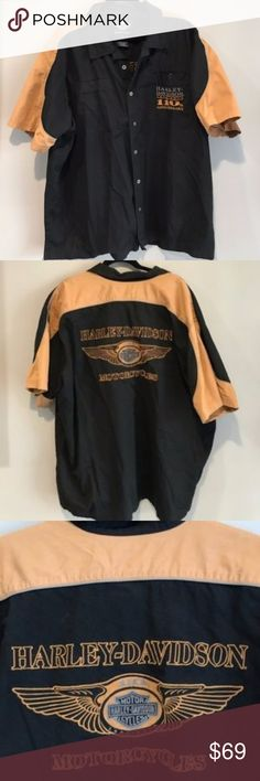 MENS HARLEY DAVIDSON SHIRT 4X. BLACK HARLEY DAVIDSON SHIRT 4X. BLACK-like a brown mustard /gold color 110th Anniversary Edition. Other than some lint from what I see it is in very good condition, I see one little spot that may come out by button. Please see photos and ask any questions. My lint roller run out. Harley-Davidson Shirts Polos
