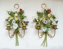 Pair Vintage Brass Wall Lamps Sconces w/ Bisque Porcelain Flowers Candle Holders Floral Leaves & Long Stems from Coyote Moon Antiques on Ruby Lane ...I just love these!!