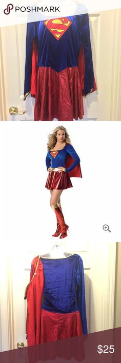 Supergirl Size Large  Adult Full Costume In excellent preowned condition. Full costume dress, boot cover, belt and detachable cap. Dresses