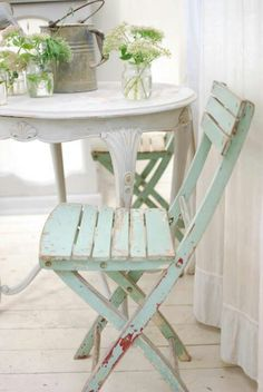 French cafe chair like the old ones I just bought. I think I'll paint them and the french cafe table a very pale baby blue or pale blue-gray.