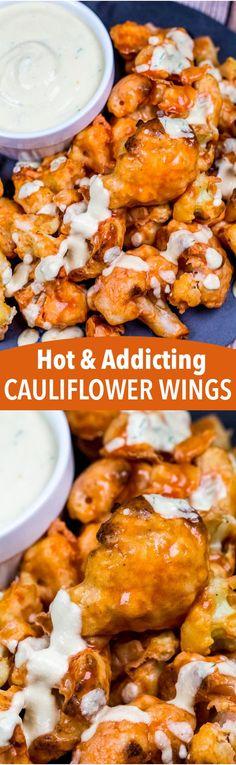 Addictive and Hot Vegan Cauliflower Wings Addictive and Hot Cauliflower Wings! Vegan Apps, Vegan Foods, Vegan Snacks, Vegan Dishes, Healthy Snacks, Veg Recipes, Delicious Vegan Recipes, Whole Food Recipes, Vegetarian Recipes