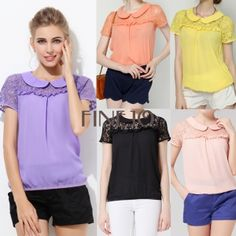Women's Short Sleeve Chiffon Lace Shirt Tops / Blouse in awesome pastel colors!