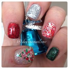 Christmas gel nails 2013 (red, green, and silver oh my!) Instagram @devinenailsnv