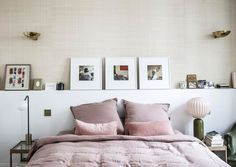 pink bedding in bedroom of Morgane Sézalory, Sézane fashion boutique founder. / sfgirlbybay