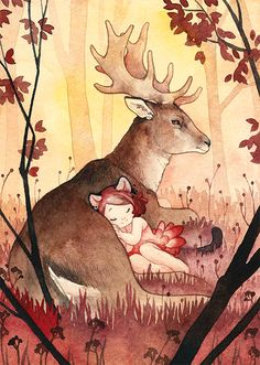 Simply beautiful, by one of my favourite dev artists. Cerise et le Cerf by Rozenng.deviantart.com on @deviantART