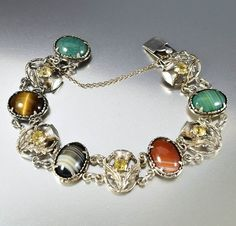 Silver Thistle Citrine Scottish Agate Bracelet 1930s  #Bracelet #Citrine #intage #Agate #Scottish #Sterling #Silver #Rare #Plique #Yellow