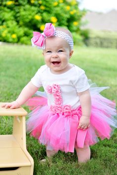 First Birthday Tutu Outfit Pink Rosette by SweetCarolineCrafts, $41.99