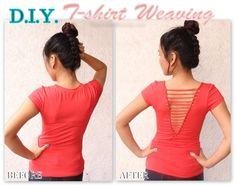 Refashion an Old T-Shirt with Weaving | www.FabArtDIY.com  #reashion, #crafts, #no-sew, #t-shirt
