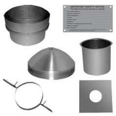 Flue Liner Installation Kit 1 6 inch.  Use this pack when you want to remove the existing chimney pot - and then replace it when the flue liner is installed. You will probably need to install a cowl or terminal for your chimney to offer some weather and bird protection.    PACK CONTAINS  1 x Top Plate - Ø150mm  1 x Top Clamp - Ø150mm  1 x Top Insert - Ø150mm  1 x Nose Cone - Ø150mm  1 x Adaptor to Black Pipe or Single Wall Flue - Ø150mm  1 x Chimney Notice Plate