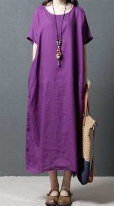 Women loose fit plus large size pocket dress maxi long tunic Bohemian Boho chic #unbranded #dress