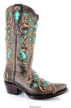 f871070ad Corkys Girl - All Leather Handmade Western Boot Brown Turquoise Sizes  Available - 6 thru