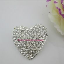 ( Cm113 40 mm ) 100 pcs coração grande limpar Rhinestone liga de Metal haste, Cheio de cristal(China (Mainland))