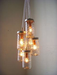 Mason Jar Cluster Chandelier, 6 Clear Mason Jars, Hanging Pendant Lamp Fixture, BootsNGus Rustic Lighting and Home Decor Mason Jar Chandelier, Mason Jar Lighting, Mason Jar Lamp, Shabby Chic Lighting, Unique Lighting, Pot Mason, Jelly Jars, Hanging Light Fixtures, Glow