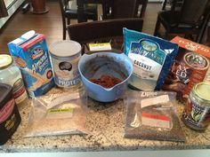 Ingredients in the chocolate peanut butter batter: raw almond meal (works as flour substitute), flax meal (works as egg substitute), unsweetened coconut, wheat germ, chia seeds (creates a gelatinous texture when added to liquid and helps bind the ingredients), fresh pureed bananas and dates, raw almond butter (peanut butter substitue), raw cocoa powder (chocolate substitute), almond milk, whey protein powder