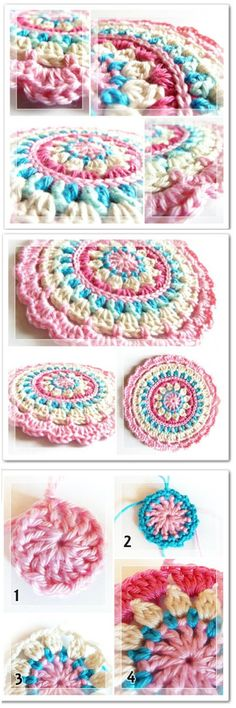 We are sharing here free crochet mandala patterns that differ from each other in style, geometric patterns and in color schemes!Crochet Little Spring Mandala Decken rund 30 Crochet Mandala Patterns - Free Crochet Patterns Crochet Mandala Pattern, Crochet Stitches Patterns, Crochet Art, Crochet Squares, Crochet Home, Crochet Crafts, Crochet Projects, Free Crochet, Stitch Patterns