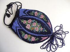 ANTIQUE-1920s-Deco-Glass-Micro-BEADED-PURSE-ROSES-Floral-DRAWSTRING-FLAPPER-BAG