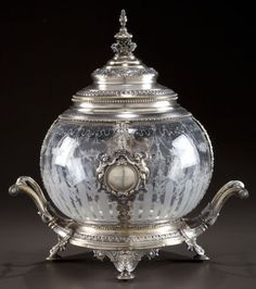 A GERMAN SILVER AND ETCHED GLASS COVERED PUNCH BOWL Maker unknown, circa 1872-1901