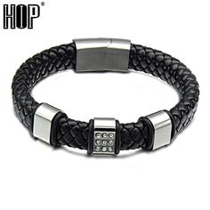 HIP Punk Cool Stainless Steel Handmade Weave Rope Pave Cz Black Genuine Leather Magnet Bracelets Bangles for Men Jewelry