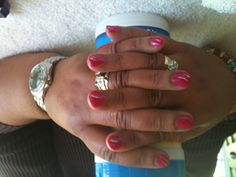 my first manicure done on a client that wasn't a student :-) 'ok I will pick a nicer glass or backdrop next time grrr...
