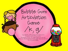 Home Sweet Speech Room : Bubble Gum Articulation Game for K and G
