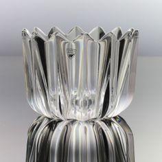 Orrefors - Jan Johansson - Heavy Crystal Ribbed 'Fleur' Bowl - Swedish Glass $56.30