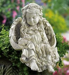 today you would have been 17 months old my sweet Angel Vylette, we love you and miss you terribly sweetheart ~ Barefoot Angel & Bunny Rabbit Garden Sculpture from Collections Etc. Angel Garden Statues, Garden Angels, Fairy Statues, Outdoor Christmas Presents, Statue Ange, Sculpture Art, Garden Sculpture, Baby Engel, Memorial Garden Stones