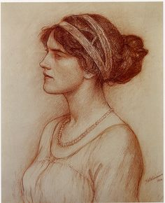 Waterhouse: Study for portrait of the Marchioness of Downshire    Waterhouse. Red chalk. 1914