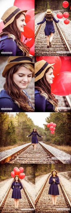 Senior pictures...I like the balloons and hat idea
