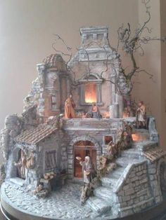 Pin by Isabel Guzman on Nativity Christmas Village Display, Christmas Nativity Scene, Christmas Ornament Sets, Christmas Villages, Christmas Crafts, Pottery Houses, Ceramic Houses, Faith Crafts, Set Design Theatre