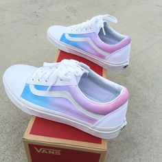 These True White Vans Old Skool Sneakers have been painted with a pastel color ombre gradient on the sides of the shoes. The light blue color starts towards the Vans Sneakers, Tenis Vans, Sneakers Workout, Painted Vans, Painted Shoes, Hand Painted, Basket Vans, Basket Style, Custom Vans Shoes