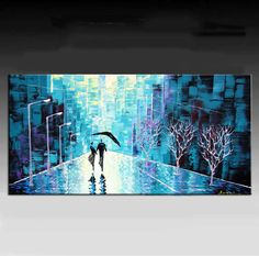 This is beautiful!  Cityscape Painting,  HUGE Original Contemporary Palette Knife Painting, Wall Decor, Textured Painting on Canvas Ready to Hang 48''x24''. $299.00, via Etsy.
