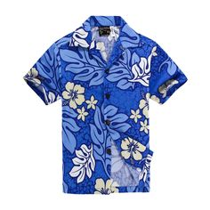 Men Hawaiian Aloha Shirt in Blue Floral