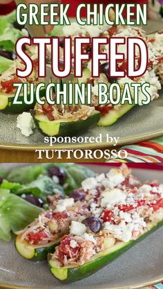Greek Chicken Stuffed Zucchini Boats - an easy low carb and gluten free dinner with with Mediterranean inspired flavors and ingredients including Kalamata olives, feta, oregano and Tuttorosso Tomatoes Easy Mediterranean Diet Recipes, Mediterranean Dishes, What Is Mediterranean Diet, Mediterranean Diet Breakfast, Heart Healthy Recipes, Healthy Dinner Recipes, Breakfast Recipes, Dessert Recipes, Dessert Bread