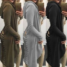 Women Fashion Zipper Open Hoodie Sweatshirt Long Coat Jacket Tops Outwear S - XL in Clothing, Shoes & Accessories, Women's Clothing, Coats & Jackets | eBay
