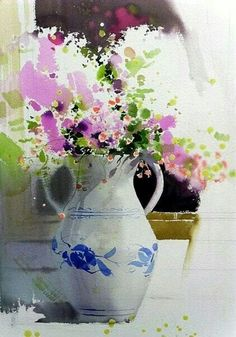 "Photo from album ""Jong Sik"" on Yandex. Watercolor Trees, Easy Watercolor, Watercolor Artwork, Watercolor Landscape, Floral Watercolor, Korean Art, Arte Floral, Beautiful Paintings, Flower Art"