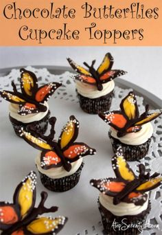 DIY Chocolate Butterflies Cupcake Toppers | Practically Functional