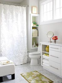 Storage for Small Spaces: A flat wall works deceptively well for storage: You can break through the drywall surface to nestle shelves between the studs.