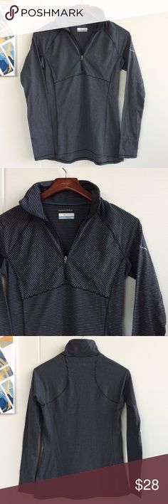"""Columbia Layer First Half Zip Knit Shirt Columbia half zip Omni-Wick long sleeve top with 4-way stretch comfort, great for layering or wearing on its own. Gray with black shape flattering stripes. Slight hi low hem.  -Omni-Shade UPF 40 sun protection  -Omni-Wick moisture wicking ability -Polyester/ elastane blend  VGUC, preloved condition but no major flaws Sz M Chest approx 16"""" Length 24"""" front, 26"""" back  Reasonable offers considered ❌no offsite transactions Columbia Tops"""